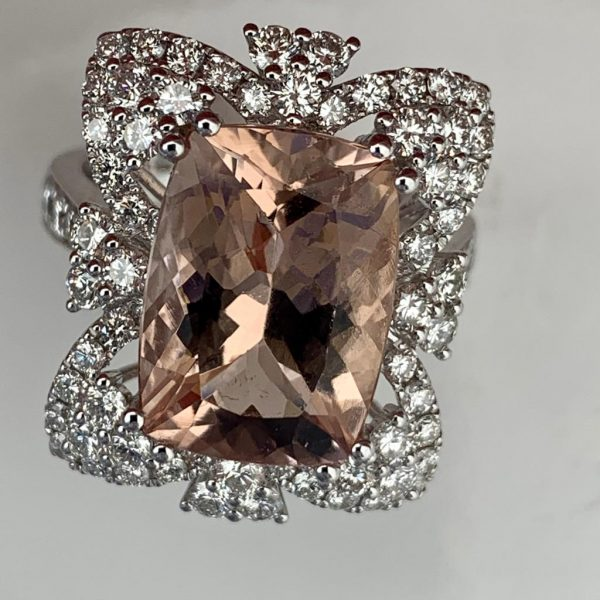 Morganite and Diamond Dress Ring in 18ct White Gold, 5.94cts