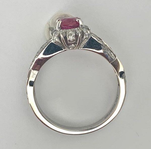 1.11ct No Heat Burma Ruby and Diamond Engagement Ring, 18ct White Gold