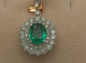 Fine 2.23ct Emerald and Diamond Cluster Pendant in 18ct White Gold