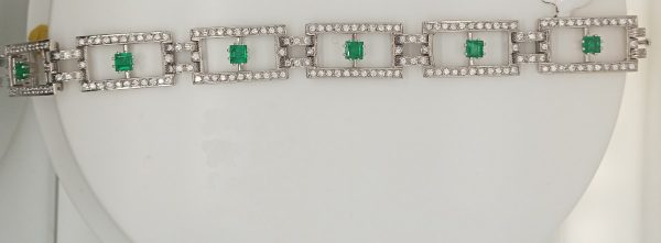 Fine 3.50ct Step Cut Emerald and Diamond Bracelet in 18ct White Gold