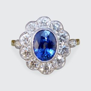 Sapphire 1.65ct and European Cut Diamond Cluster Ring