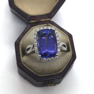 Tanzanite and diamond cluster ring 5.60 carats cushion