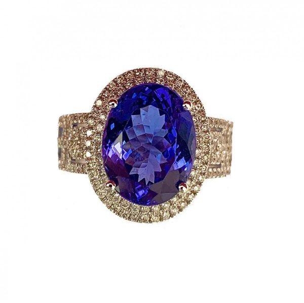 5.20ct Tanzanite and Diamond Ring, 18ct White Gold