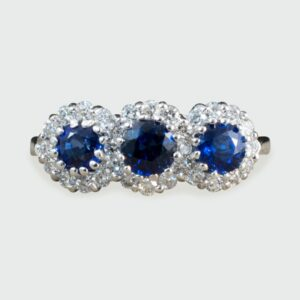 Triple Sapphire and Diamond Cluster Ring in 18ct White Gold