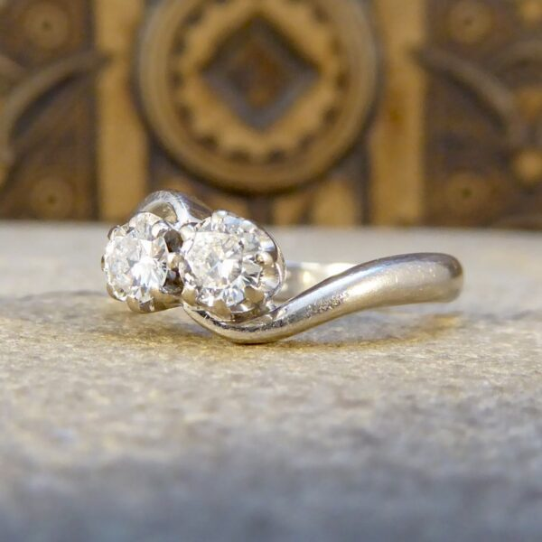 Vintage Diamond Two Stone Ring in 18ct White Gold