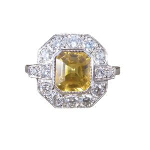 Emerald Cut Yellow Sapphire 1.50cts and Diamond Cluster Ring, Platinum