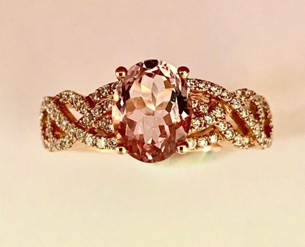 1.24ct Morganite and Diamond Engagement Ring in 18ct Rose Gold
