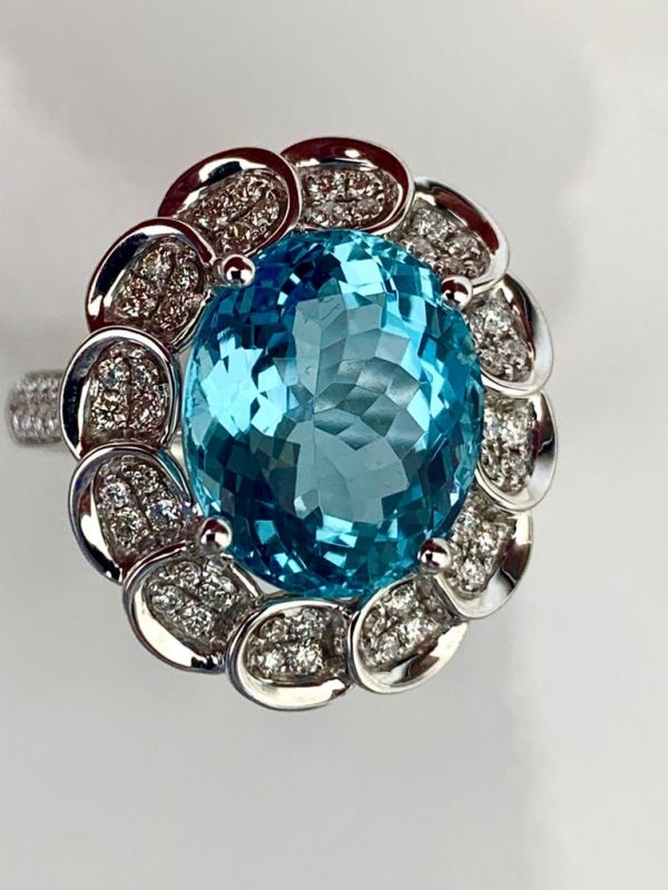 Brazillian 5.39ct Aquamarine and Diamond Cluster Ring in 18ct White Gold
