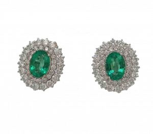 Fine 4.09ct Zambian Emerald and Diamond Cluster Earrings in 18ct White Gold