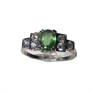 Vintage 1940's Green Demantoid Garnet and Diamond Ring