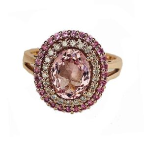 Morganite, Pink Sapphire and Diamond Cluster Ring, 18ct white gold