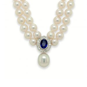 Akoya Double Row Pearl Necklace with Sapphire and Diamond Cluster