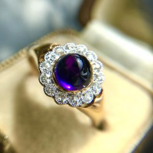 Antique Edwardian 2.00ct Cabochon Amethyst and Diamond Cluster Ring