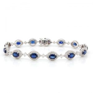 8.01ct Sapphire and Diamond Cluster Bracelet in 18ct White Gold