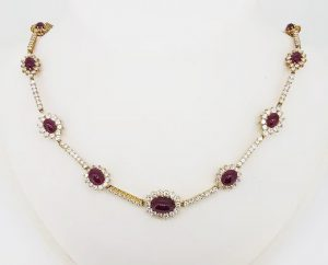 Natural Burma Ruby and Diamond Cluster Necklace, 15.00cts, Certified