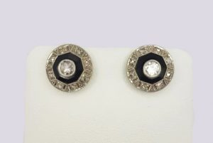 Art Deco Onyx and Diamond Cluster Stud Earrings