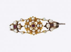 Antique Edwardian Pearl and Ruby Bangle in 15ct Yellow Gold