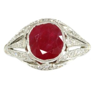Antique Art Deco Burma Ruby and Diamond Engagement Ring, 3.19ct
