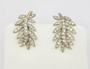 Diamond Set Leaf Earrings in 18ct White Gold