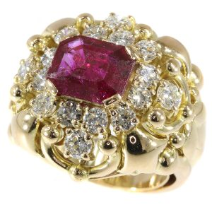 Vintage Fifties Wolfers Ruby and Diamond Ring, 3.40ct total
