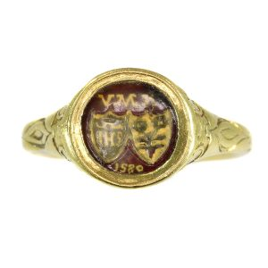 Antique Renaissance Brotherhood Coat of Arms Ring, 18ct Gold