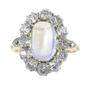 Antique Victorian Moonstone and Diamond Cluster Engagement Ring