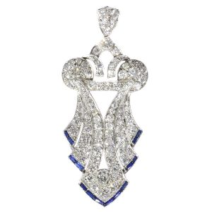 Antique Art Deco Baguette Cut Sapphire and Diamond Pendant, Platinum, Circa 1920