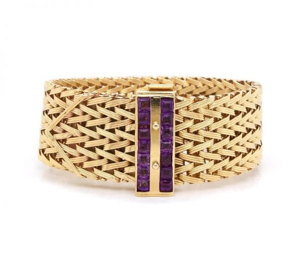 Vintage 1970's Rope Design 9ct Yellow Gold Bracelet with Stone Set Clasp; constructed of rope-style links, with purple stone-set clasp, Birmingham 1970.