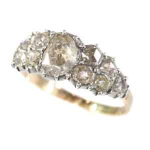 Antique Early Victorian Diamond Ring, 18ct Gold and Silver