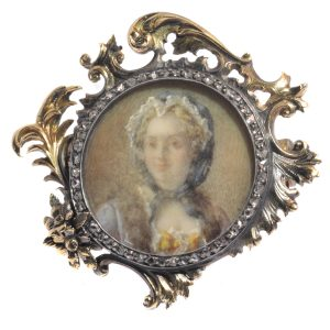Antique French Victorian Diamond Gold Painted Miniature Brooch of Madame de Pompadour