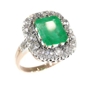 Antique Victorian 4.85ct Emerald and Diamond Cluster Ring