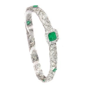 Antique Art Deco 3.28ct Emerald and Diamond Platinum Bracelet
