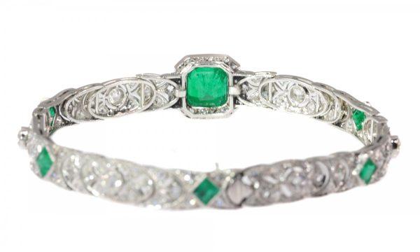 Antique Art Deco 3.28ct Emerald and Diamond Platinum Bracelet