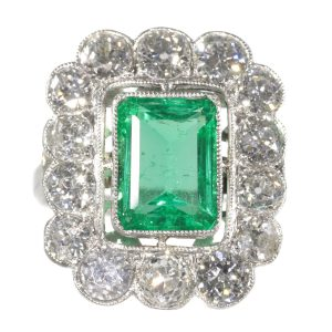 Vintage Fifties Natural Untreated Emerald and Diamond Cluster Ring