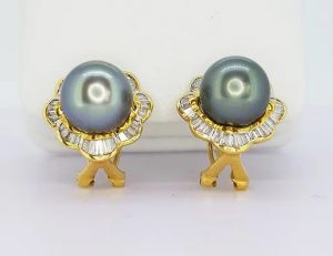 Tahitian Pearl and Diamond Cluster Earrings in 18ct Yellow Gold