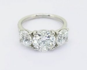 4.04ct Diamond Three Stone Ring in 18ct White Gold