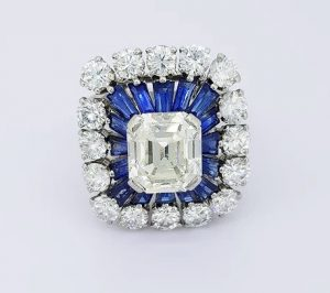 Vintage 2.30ct Emerald Cut Diamond and Sapphire Cluster Cocktail Ring