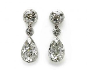 Exceptional Pair of Antique Pear Shape Diamond Drop Earrings