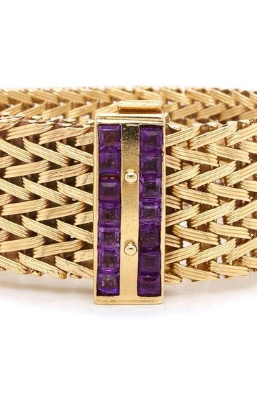 Vintage 1970's Rope Design 9ct Yellow Gold Bracelet with Purple Stone Set Clasp