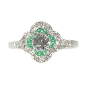 Vintage Art Deco Emerald and Old European Cut Diamond Engagement Ring
