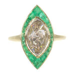 Antique Art Deco Rose Cut Diamond and Emerald Cluster Ring