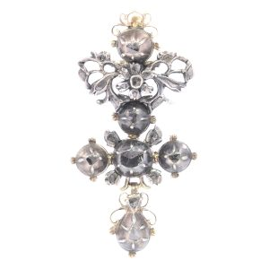 Antique 18th Century Baroque Diamond Cross Pendant