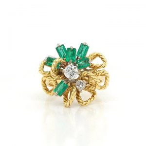 Vintage 18ct Yellow Gold, Emerald and Diamond Abstract Cluster Ring