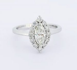0.99ct Diamond Marquise Cluster Ring