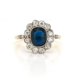 Antique Edwardian Sapphire and Old Cut Diamond Cluster Ring