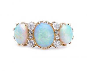 Antique Victorian 3.50ct Opal and Diamond Three Stone Ring in 18ct Gold