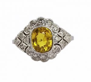 2.10ct Yellow Sapphire and Diamond Cocktail Ring, 18ct White Gold