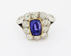2.16ct Natural Sapphire and Diamond Cluster Ring, 18ct Gold