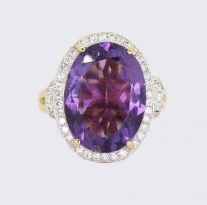 Amethyst and Diamond Oval Cluster Ring in 18ct Gold