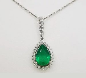 Emerald and Diamond Pear Shaped Cluster Pendant, 1.60cts, 18ct Gold